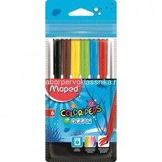"Фломастеры Maped, ""Color'Peps"", Ocean,  6 цв., пласт. упаковка"