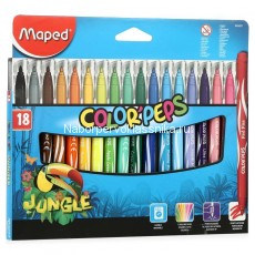 Фломастеры Maped, Jungle, 18 цв., карт. упаковка