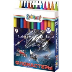 "Фломастеры Silwerhof, ""Space battle"", 12 цв., карт. упаковка"
