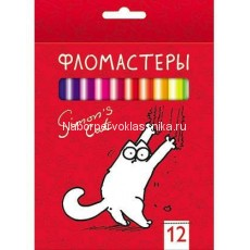 Фломастеры Hatber, Simon's cat, 12 цв., карт.упаковка
